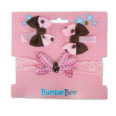 Bumble Bee Headband & Hair Clips Set (Brown)