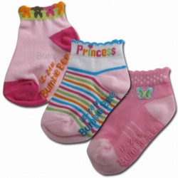 Bumble Bee 3 Pair Pack Princess Anklet Socks (S0057)