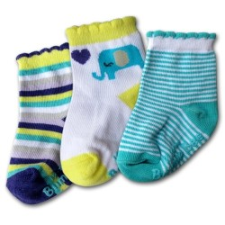 Bumble Bee 3 Pair Pack Blue Elephant Socks (S0076)