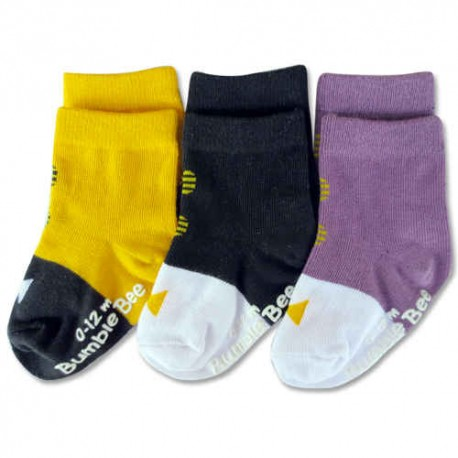 Bumble Bee 3 Pairs Pack Boy Bow Classic Shoelike Socks