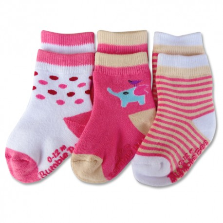 Bumble Bee 3 Pairs Pack Girl Pink Elephant Socks