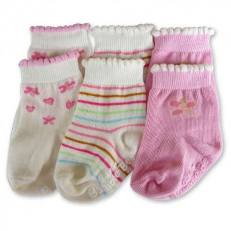 Bumble Bee 3 Pairs Pack Pink Flower Socks (S0099M)