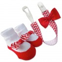 Bumble Bee Baby Pacifier Clip with Socks Set (Red) (XLA0009)