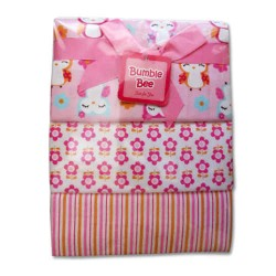 Bumble Bee 3pcs Receiving Blanket (Pink Owl) (BLK0035)