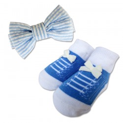 Bumble Bee Baby Bow Tie with Socks Set (Sky Blue)  (XLA0022)