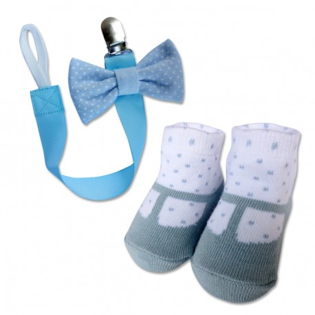 Bumble Bee Baby Pacifier Clip with Socks Set (Polka Blue)