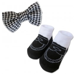 Bumble Bee Baby Bow Tie with Socks Set (Black) (XLA0023)