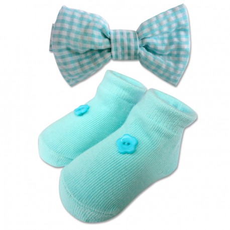 Bumble Bee Baby Bow Tie with Socks Set (Teal)