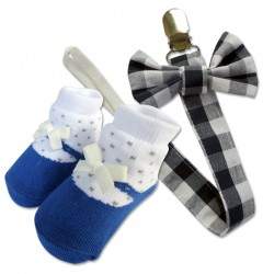 Bumble Bee Baby Pacifier Clip with Socks Set (Blue Checkered) (XLA0013)
