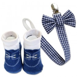 Bumble Bee Baby Pacifier Clip with Socks Set (Tiny Blue Checkered) (XLA0012)