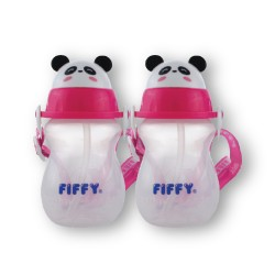 FIFFY Twin Pack 430ml Air Vent Drinking Container (Pink) - 98-386VP