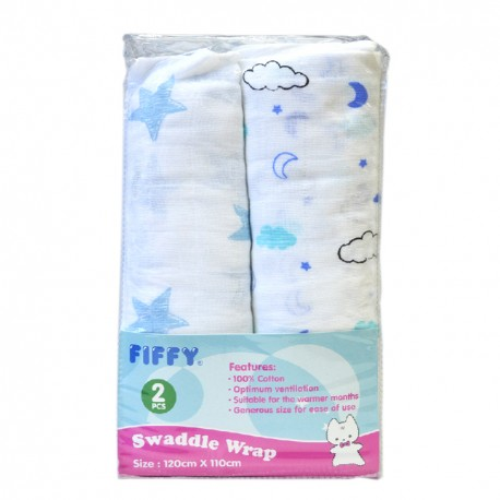 FIFFY Soft and Ventilated Baby Swaddle (2pcs pack) -19468540