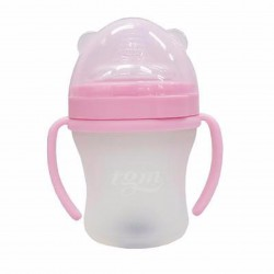 BabyBaby2U PINK 260ml (L) Full Silicone w/ Temperature Sensor Feeding Bottle
