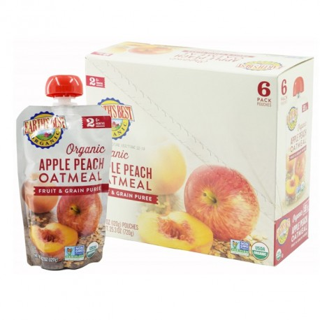 Earth's Best Apple Peach Oatmeal Fruit and Grain Puree (6mth+) - Bundle of 6