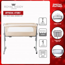 Royal Kiddy London 3 in 1 Night Angel Portable Bedside Baby Cot (Brown)
