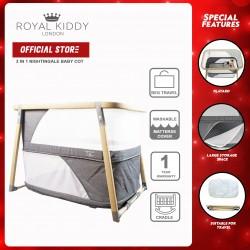 Royal Kiddy London 3 in 1 Nightingale Baby Cot Playpen (GREY)