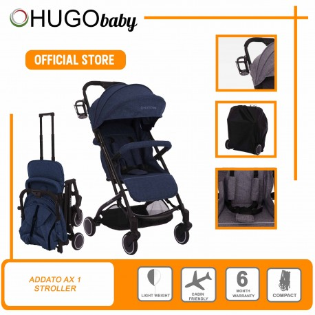 Hugo Baby Exclusive Adatto AX1 Portable Stroller with FREE Bottle Holder + PU Leather Handle Cover + Stroller Cover Bag (BLUE)