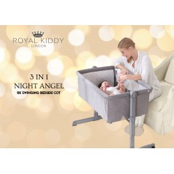 Royal Kiddy London 3 in 1 NIGHT ANGEL Bedside Cot (Grey)