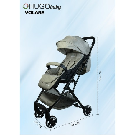 Hugo Baby Volare Portable Stroller (Brown) with FREE PU Leather Handle Cover + Stroller Cover Bag (Exclusive)