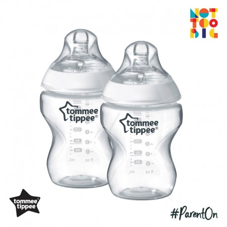 Tommee Tippee Closer to Nature PP Bottle 260ml/9oz (Pack of 2) - White