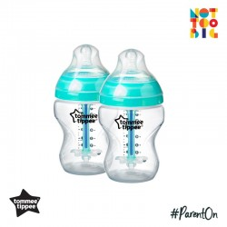 Tommee Tippee Closer to Nature Anti Colic Plus PP Bottle 260ml/9oz (Pack of 2) - White