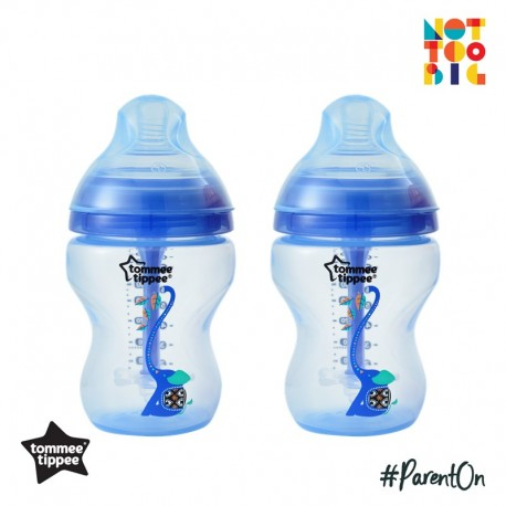 Tommee Tippee Closer to Nature Decorated Bottle (260ml/9oz) Advanced Anti Colic Plus - Boy (Pack of 2)