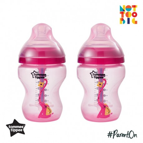 Tommee Tippee Closer to Nature Decorated Bottle (260ml/9oz) Advanced Anti Colic Plus-Girl (Pack of 2)