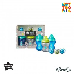 Tommee Tippee Boldly Go 260ml x 3 Bottle + 6-18m Soother x 3 (Boy)