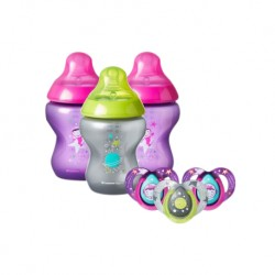 Tommee Tippee Boldly Go 3 x 260ml Bottle + 6-18m Soother x 3 (Girl)