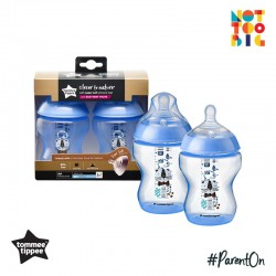 Tommee Tippee CTN PP with Super Soft Teat Tinted Bottle 260ml/9oz 2pk - Blue (Cat)