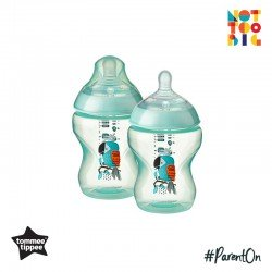 Tommee Tippee CTN PP with Super Soft Teat Tinted Bottle 260ml/9oz 2pk - Green (Bird)