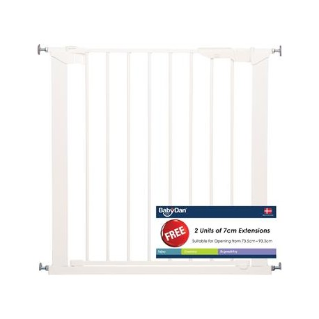 Baby Dan Premier Safety Gate White with 4 Extensions (73.5 - 106.3cm) DAN601144