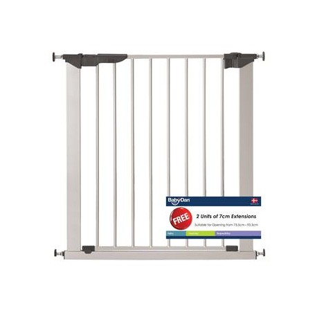 Baby Dan Premier Safety Gate Silver with 6 Extensions (73.5 - 119.3cm) DAN601176