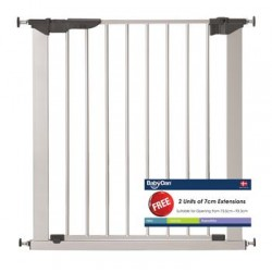 Baby Dan Premier True Pressure Fit Safety Gate Silver with 2 Extensions (73.5 - 93.3cm)