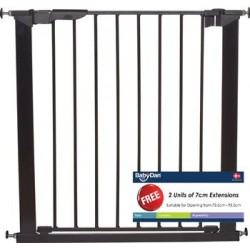 Baby Dan Premier True Pressure Fit Safety Gate Black with 2 Extensions (73.5 - 93.3cm)