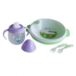 Bremed Baby Weaning Set (Warm Plate, Trainer Cup, Fork & Spoon)