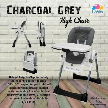 Bubbles Charcoal Grey High Chair