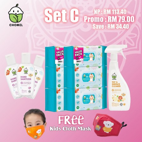 Chomel Combo Set C: Baby Wipes 100 Sheets TRIPLE PACK x 2, Toy & Surface Cleaner 500ml x 1pcs, Hand Sanitizer x 3pcs
