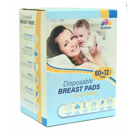 Bubbles Disposable Breastpads 60+12 (Honeycomb) - NEW