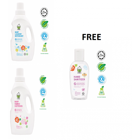 Chomel Special COMBO Baby Laundry Detergent 1 Litre & Baby Fabric Softener 1 Litre FOC Hand Sanitizer