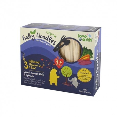 Love Earth Baby Noodles – Carrot, Sweet Potato, Spinach 180g