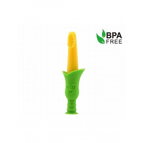 Haakaa Silicone Teething Toothbrush with suction stand (Corn)