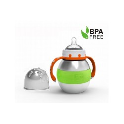 Haakaa 280ml Wide Neck Stainless Steel Thermal Baby Bottle (Green)
