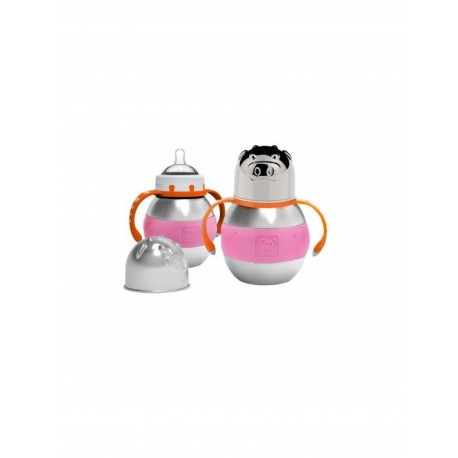 Haakaa 280ml Wide Neck Stainless Steel Thermal Baby Bottle (Pink)