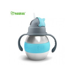 Haakaa 280ml Wide Neck Stainless Thermal Bottle Straw Bottle (Blue)