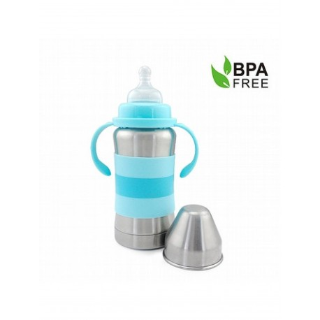 270ml Standard Neck Stainless Steel Thermal Baby Bottle (Blue)