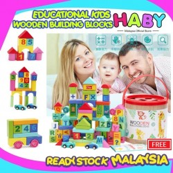 HABY Creative Colourful Wooden 100pcs Toddler Kids Early Learning Alphabet Number Building Blocks