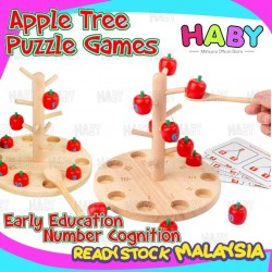 HABY Wooden Montessori Numeric Matching Puzzle Apple Tree Basic Math with Flash Cards Developmental Gift