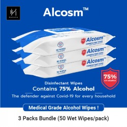 Alcosm 75% Alcohol Wipes (3 Packs FOC 1 Pack)