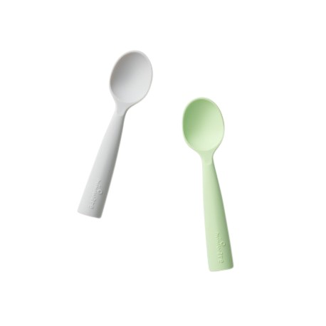 Miniware Silicone Training Spoon Set (2 Colour Variations) - Grey + Key Lime